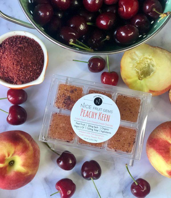 Peachy Keen hemp CBD fruit gems with fresh peach and freeze-dried cheeries. 20mg CBD per Gem, 120mg CBD total. Vegan and Gluten Free.