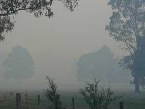 Flaggy Creek smoke from DSE burn