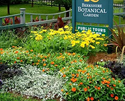 Berkshire Botanical Garden sign and flower bed