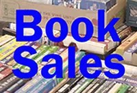Book Sales text in front of books