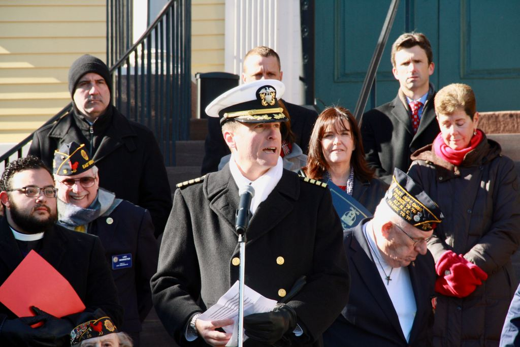 "Capt. Gabriel Soltero, East Greenwich resident and military professor at the Naval War College in Newport, spoke about the need for veterans and non-veterans to have deeper conversations beyond, ""Thank you for your service."" and ""You're welcome."""