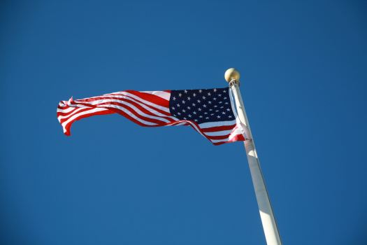 The American flag that flies in front of Town Hall.