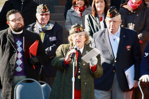 "2017 Veterans Day Parade Grand Marshal Lucy Amat recalls her time in the military during WWII. She concluded her speech with, ""Thank you all. Love you all. I'll tell you, you people of East Greenwich, you never miss a parade."""