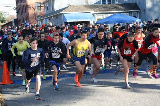 Go! The starters of the Main Street Association of East Greenwich's 7th Annual Turkey Trot 5K.
