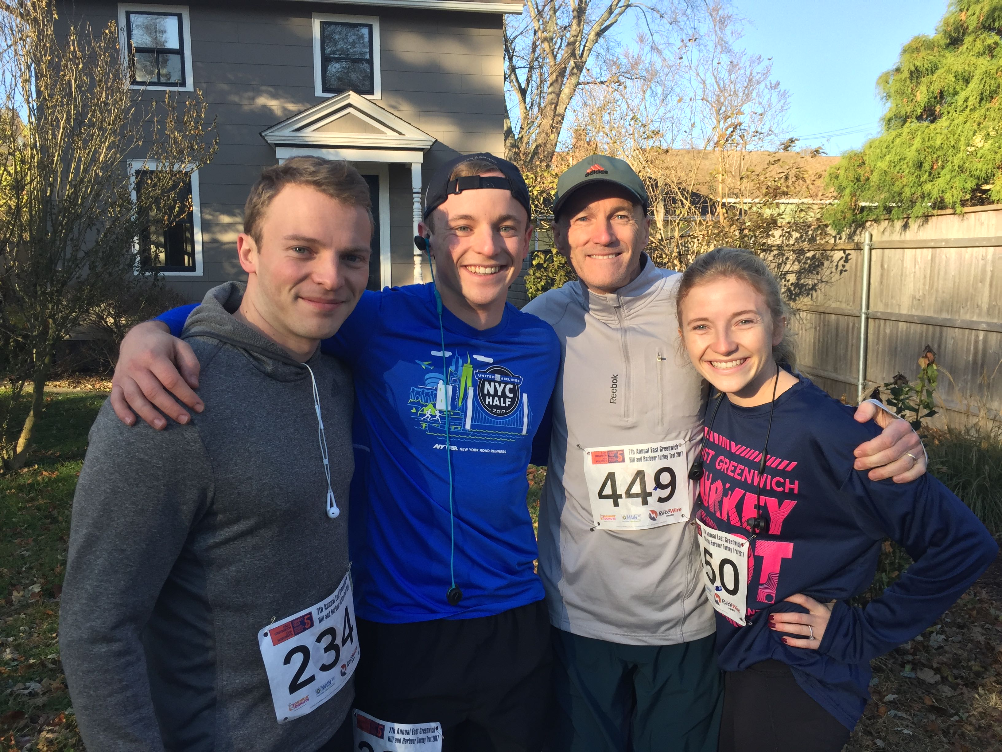 Perkins family runners, from left, Greg, Andrew, Greg senior, and Elizabeth.