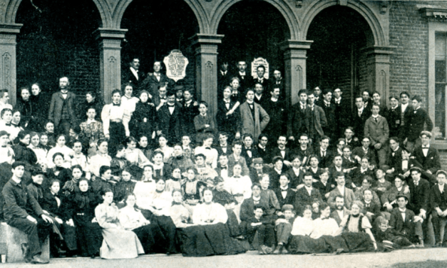 Posing In Front of EG Academy's Main Building, 1897 & 1956