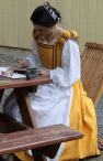 Lady Kataryn Mercer (Kit) teaching a class on woodblock carving.