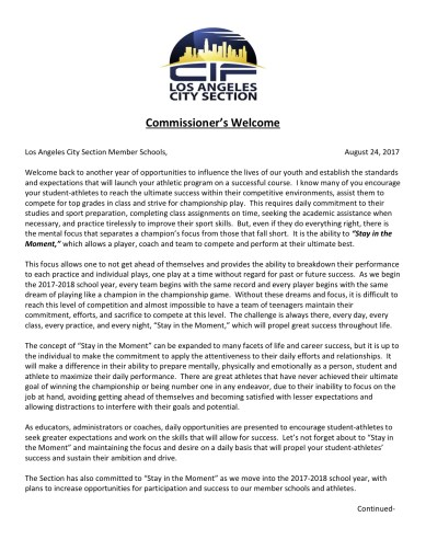 From the Commissioner's Desk - Fall 2017