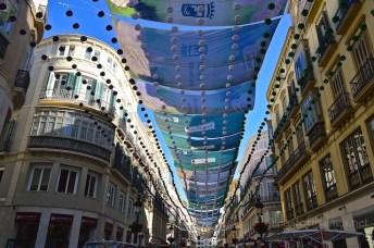 Shades protect Calle Marquis de Larios, Malaga