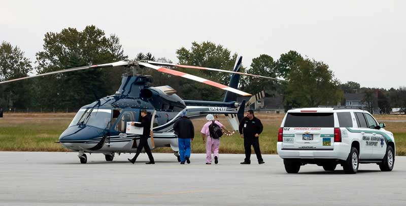 helicopter transports organ to new recipient