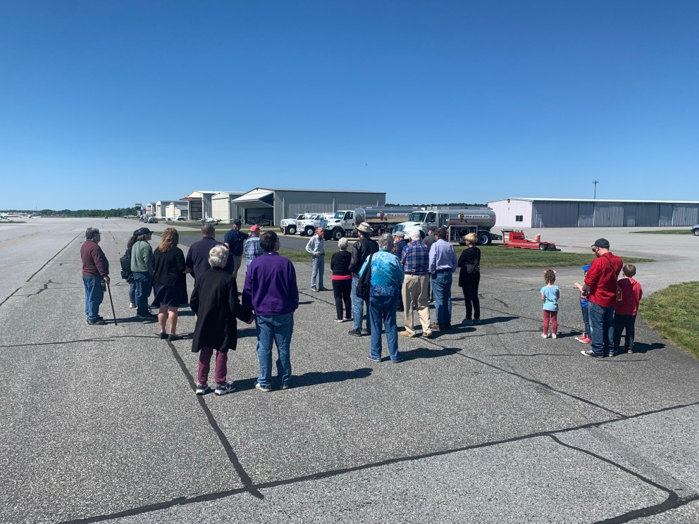 Spring 2021 Walk & Talk participants learned about the environmental and safety practices on the community airfield