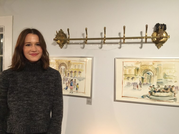 "Easton artist Louise Astorino greeted guests and talked about her collection of watercolors and ink on cold press paper, titled ""Raccogliere: To Gather."" — Nancy Doniger Photo"