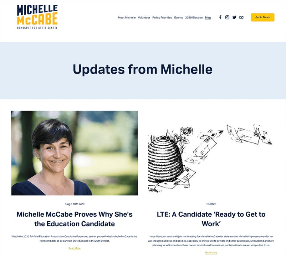 Screenshot of Michele McCabe Blog