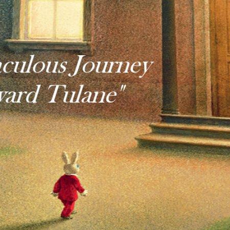 Rabbit approaching giant door