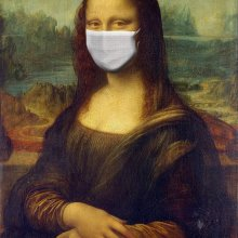 Mona Lisa wearing a mask