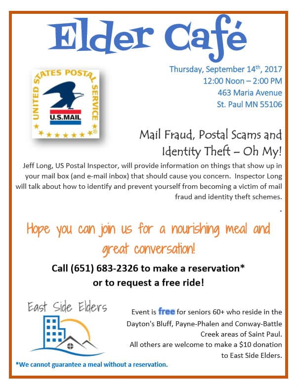 Elder Cafe: September 2017 – Mail Fraud, Postal Scams and Identity Theft