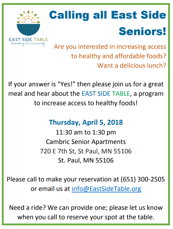 East Side Table Info Session – April 5 – Free lunch and transportation for seniors