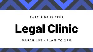 Blue geometric design. Text reads: East Side Elders. Elder Fest. March 1st - 11am to 2pm