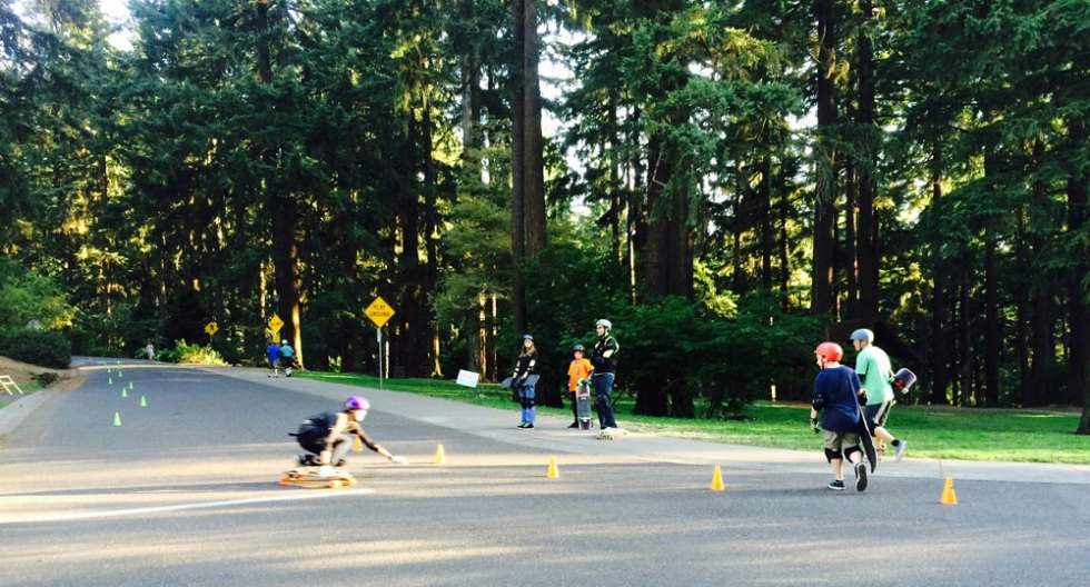 Longboarding 101 Class at Mt.Tabor in Portland, OR.