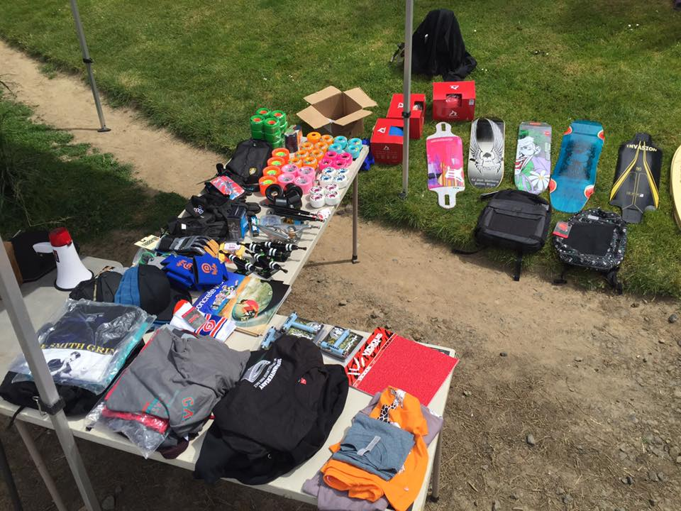 Prize spread! So much gear thanks to all the sponsors!