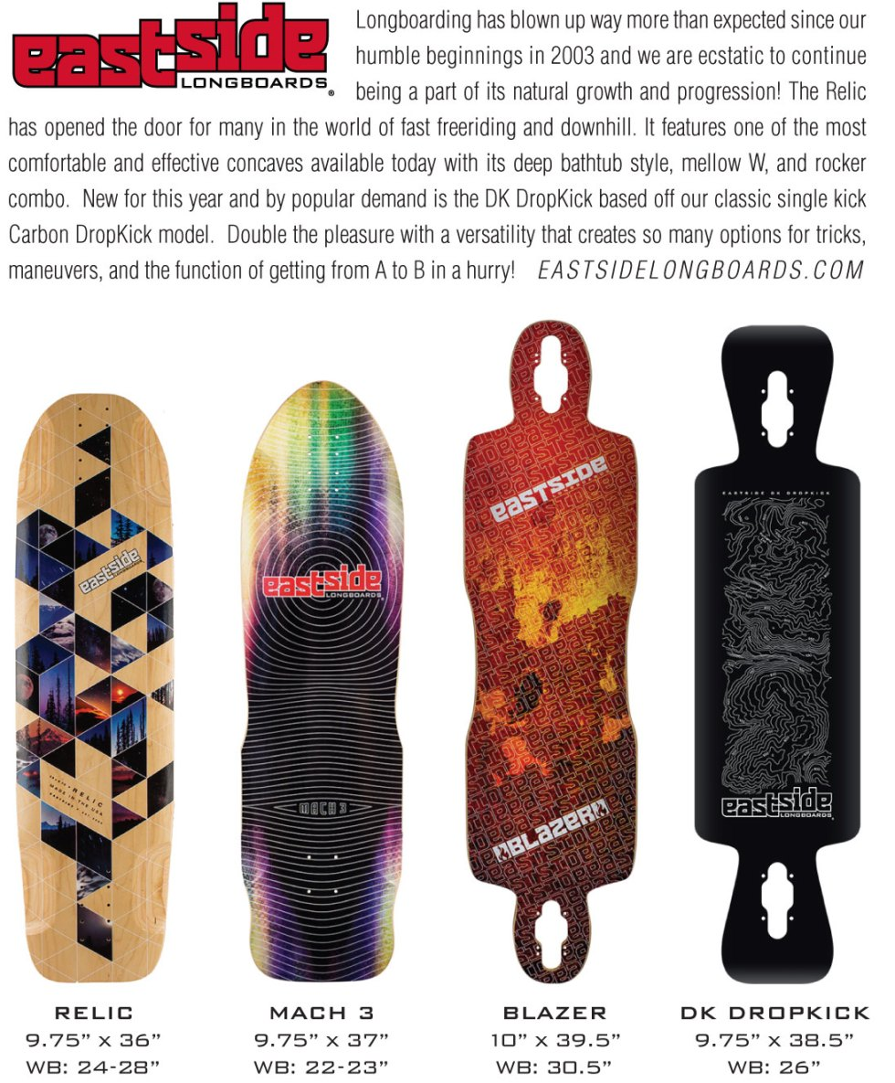 Concrete Wave Buyers Guide Listing for Eastside in 2016 featuring the new board and what the graphic will look like.