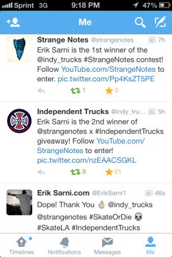 Strange Notes Independent truck Co. Erik sarni