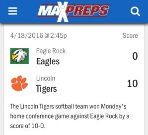 Lincoln Tigers vs Eagle Rock Eagles Softball 2016