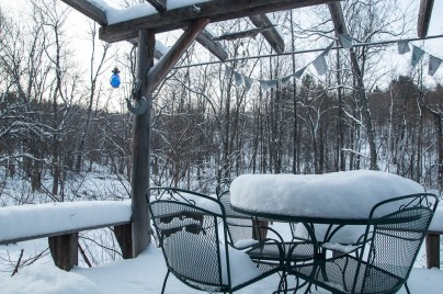 Morning snow on the back deck. Yeah!
