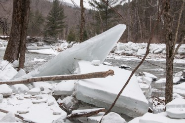 Another view of ice blocks from the last thaw along the Huntington River at the Audubon Center.