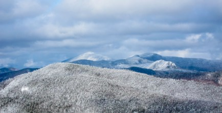 Camel's Hump catches a brief shot of sunlight Thursday in this view from the Single Chair at Mad River Glen.