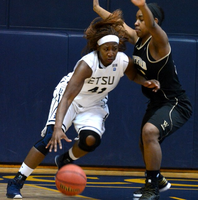The women's basketball team win 69-47 in their game against the Wofford Terriers, putting the Lady Bucs 4-0 in the Southern Conference. (Photograph by Lorien Myerson/East Tennessean)