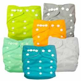 Alva Baby 6pcs Pack Pocket Washable Adjustable Cloth Diapers