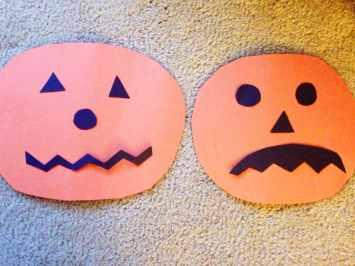 Making jack-o-lanterns for a pumpkin craft activity