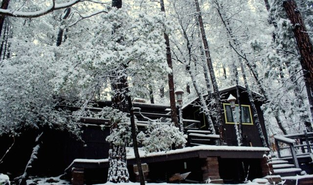 Snow on the back of the cabin - 2015 EVRC - Payson
