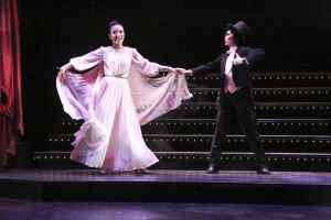 Chifumi (Grace Yoo) and Yuko (Jannelle Dote) perform in the style of Ginger Rogers and Fred Astaire in East West Players' production TAKARAZUKA!!!