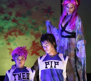 """William Jay, Ethan Le Phong, and Maegan McConnell in """"Pippin"""" (2008). Photo by Michael Lamont."""