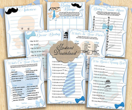 8 Printable boy's baby shower party games