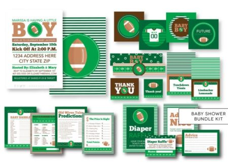 Football baby shower digital party supplies