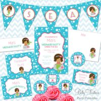 Digital African American Mermaid baby shower