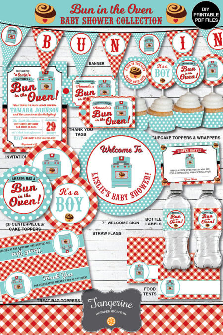 Printable Bun in Oven baby shower party kit