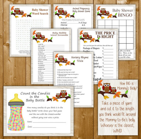 Printable Owl party game package