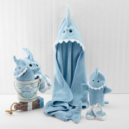 Shark baby robe bath gift set