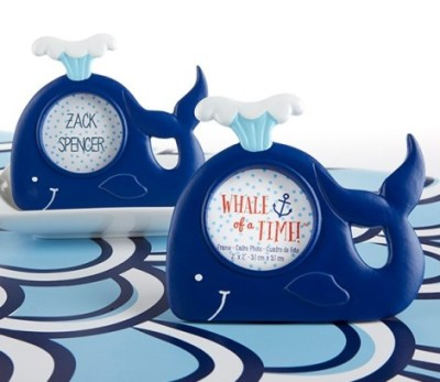whale photo frame baby shower favors