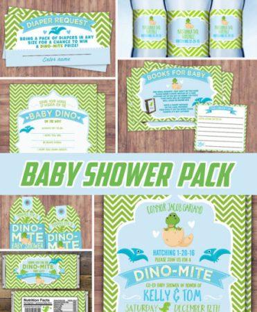 Printable Dinosaur baby shower decorations invitation