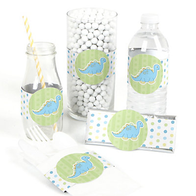 Blue Dinosaur baby shower party wrap supplies