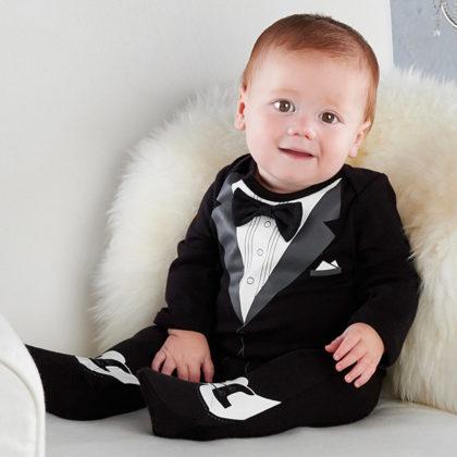 Little Man baby tuxedo body suit