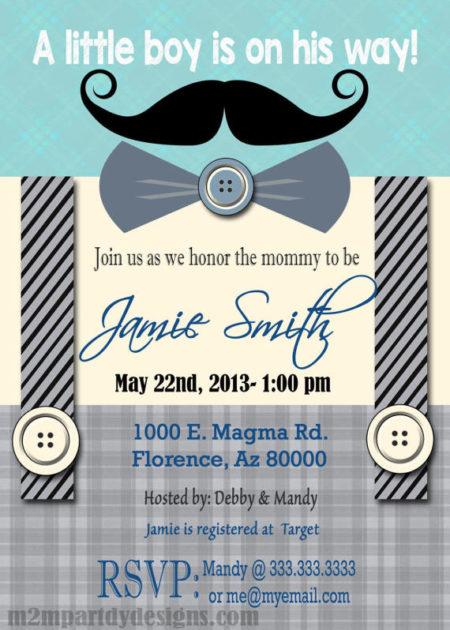 Printable Little Man mustache baby shower invite