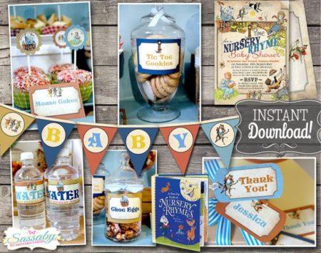 DIY Nursery Rhymes baby shower party template