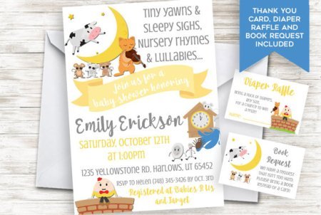 Nursery Rhymes baby shower invitation request set