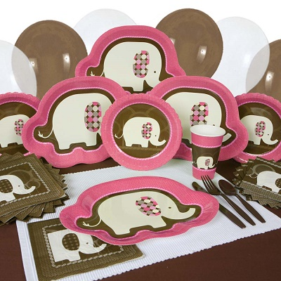 Elephant Pink safari baby shower party supplies